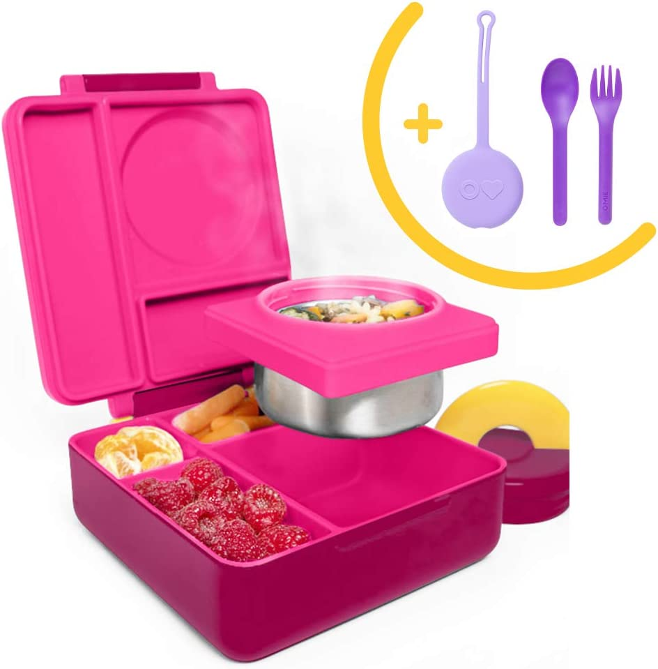 OmieBox Bento Box for Kids Insulated Bento Lunch Box with Leak Proof Thermos Food Jar, 3 Compartments + Purple Utensil Set with Case