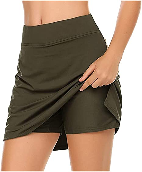 Amazon.com: SPORTTIN Women's Print Skorts with Pockets Active Athletic  Sports Skirts for Workout Tennis Golf Running(Army Green,L): Clothing