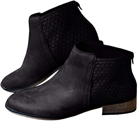 Womens Ankle Short Boots Low Heel Flat