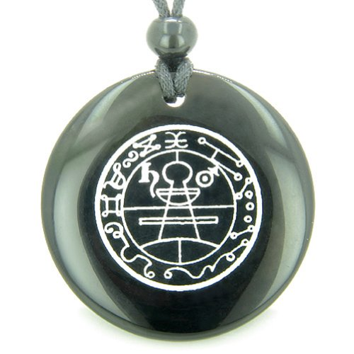 Talismans Totem - Secret Seal of Solomon Protection Powers Talisman Black Agate Magic Pendant Necklace