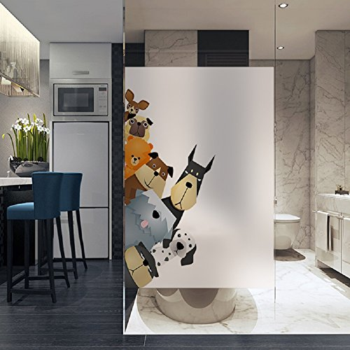 60 Cm Wide Ceramic (LANGUGU Dogs Pattern Glass Non-Adhesive No Glue Static Decorative Privacy Window Films 17.7in. By 23.6in. (45 X 60cm) Glass Sticker For Office Home Bedroom Glass Door Privacy)