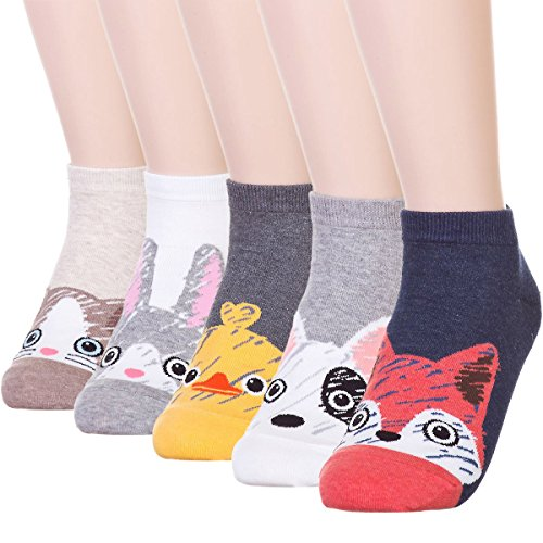 DearMy Womens Cute Design Casual Cotton Crew Socks for Gift Idea One Size Fits All (Fox 5 -