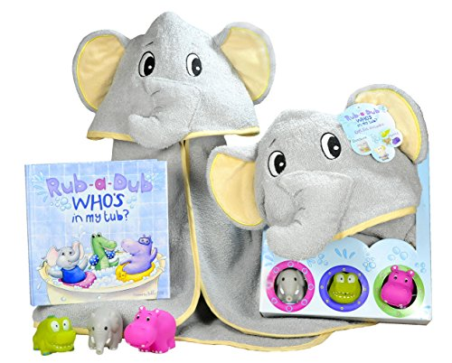 Baby Gift Set- Rub A Dub, Who's in My Tub? 5 Piece Bath Set Includes Elephant Hooded Towel, 3 Jungle Safari Squirt Toys, and Book. Adorable Baby Shower Gifts for Boys and Girls! ()