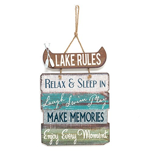 "Lake Rules Wooden Sign Vintage Country Lakeside Decor 21""x 14"""