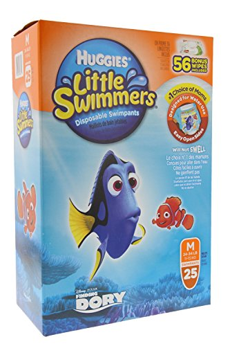 Huggies Little Swimmers Disposable Swimpants Medium - 25 Pair Swimpants plus bonus 56 Wipes