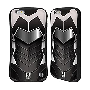 Head Case Designs White and Black Armour Collection Hybrid Gel Back Case for Apple iPhone 6 Plus 5.5