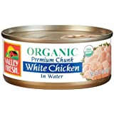 Valley Fresh Organic White Chicken in Water, 5-Ounce Cans (Pack of 4)