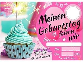Einladungskarten Kindergeburtstag U2013 Mädchen Party U2013 Geburtstagskarte Mit  Glitzer Muffin U2013 Schicke Einladung Zum Kinder