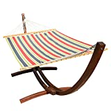 Lazy Daze Hammocks 12 ft. Wood Arc Hammock Stand with 2 Person Polyester Fabric Hammock, Blue/Red Stripes
