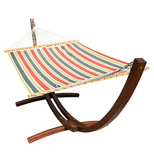 Lazy Daze Hammocks 12 ft. Wood Arc Hammock Stand with 2 Person Polyester Fabric Hammock, Blue/Red...