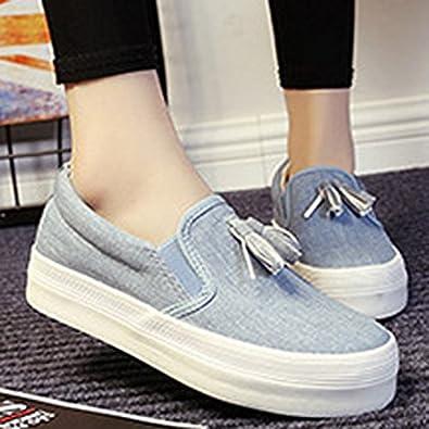 Oasap Mujer Slip-On Mocasines Casuales de Lona Plataforma: Amazon.es: Zapatos y complementos