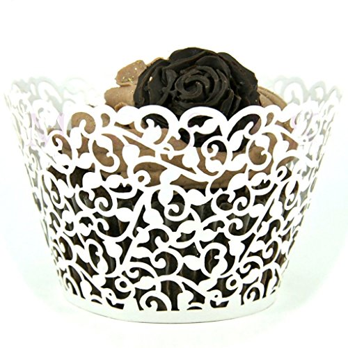 Price comparison product image vanki Flower Vine Filigree Lace Cutout Cupcake Wrappers Wraps Liners Wedding Party Cake Decoartion