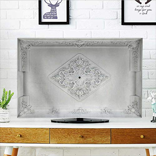 Philiphome Cover for Wall Mount tv Decorative Item Made of White Plaster on ceil Relief Stucco Interior Cover Mount tv W30 x H50 INCH/TV 52