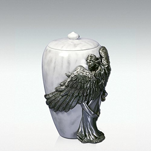 AngelStar Angel's Embarce Pewter Urn, White