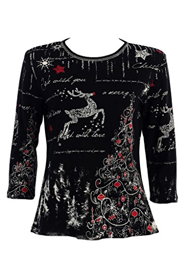 Jess & Jane Rhinestone Reindeer Shirt - Plus Size Available