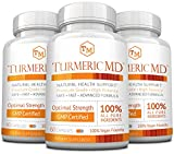 Turmeric MD - with BioPerine & 95% Standardized Turmeric Curcuminoids - Natural Anti-Inflammatory, Antioxidant, Pain Relief and Antidepressant - 180 Capsules (3 Months Supply)