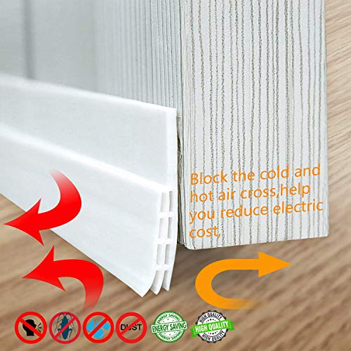 (MAVGV Door Draft Stopper Under Door Sweep Weather Stripping Noise Stopper Rubber Weather Stripping Door Bottom Seal for Home Commercial Exterior Storm(White 2