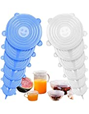 TYC Silicone Stretch Lids 12 PCS Eco-Friendly Silicone Food Cover Wrap Reusable Durable and Expendable Food Saver Covers for Various Container, Bowls, Dishes, Jar, Pot, Microwave & Dishwasher Safe (Blue&White)