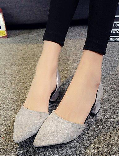LFNLYX Zapatos de mujer-Tacón Bajo-Puntiagudos / Punta Cerrada-Tacones-Vestido / Casual / Fiesta y Noche-Ante-Negro / Gris Black