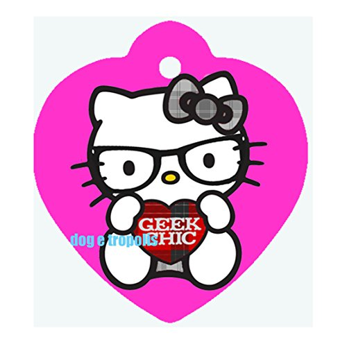 Hello Kitty Custom Photo Dog Pet Cat ID Tag Heart Shape Engraved Personalized Key Ring (Pink)