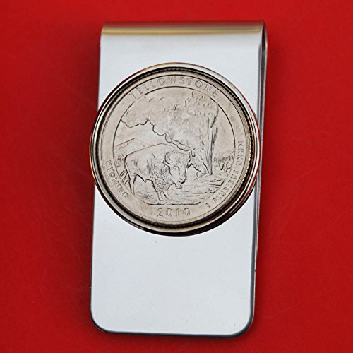 US 2010 Wyoming Yellowstone National Park Quarter BU Uncirculated Coin Money Clip New - America the Beautiful