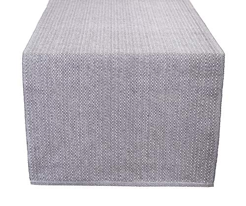 Glamburg Cotton Table Runner, Herringbone Weave, 16x90, Perfect for Special Occasions, Modern Décor, Catering Events, Dinner Parties and Every Use - Charcoal