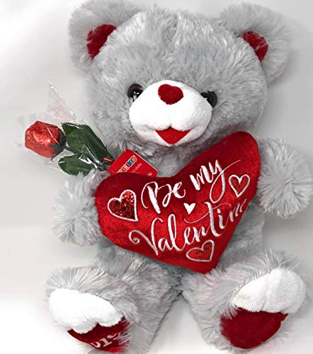 - P2P ~ 2019 Grey Valentine Sweetheart BE My Valentine Teddy Bear Plush Toy (Bonus ZUMI Flower Blossom Bow) and (1) Chocolate Rose (Color of Rose May Vary)