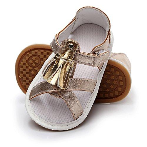 (HONGTEYA Baby Girl Summer Princess Dress Sandals Tassel Infant Shoes PU Leather Rubber Soled Toddler Moccasins (14cm(12-18months), Gold))