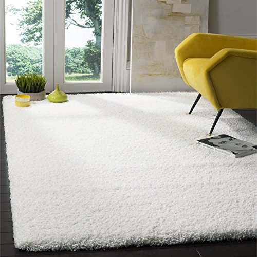 Safavieh California Premium Shag Collection SG151-1010 White Area Rug (8' x - Transitional White Rug Area