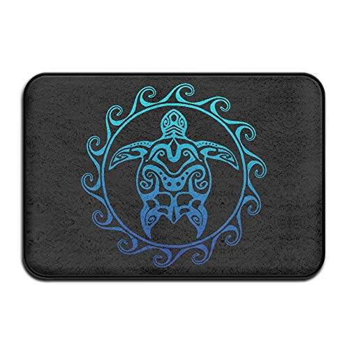 (Non Slip Door Mat Outdoor,Decorative Garden Office Bathroom Door Mat Entry Way Door Mat Rug with Non Slip Backing Tribal Ocean Blue Hawaiian Sea Turtle Indoor Doormat for Kitchen,Bath,Pet)