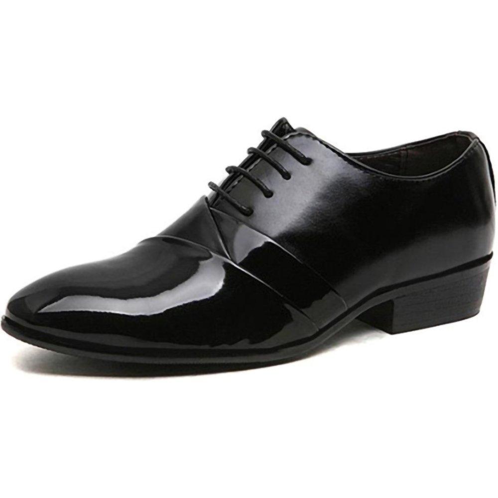 Designer Wedding Shoes Man Leather Formal Marriage Pointed Toe Masculine Design (8.5, Black)