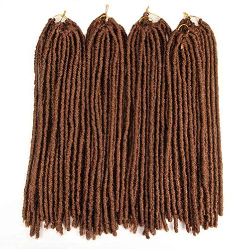 Synthetic Braiding Hair Extensions Heat Resistant Fiber Straight Dreadlocks Faux Locs Ombre Brown Black Color Crochet Braid Hair,#30,20inches,1Pcs/Lot ()