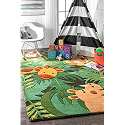 "nuLOOM King of The Jungle Hand Tufted Area Rug, 3' 6"" X 5' 6"", Green"