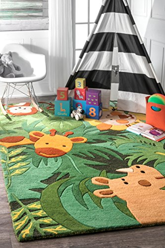 """nuLOOM King of The Jungle Hand Tufted Area Rug, 3' 6"""" X 5' 6"""", Green"""