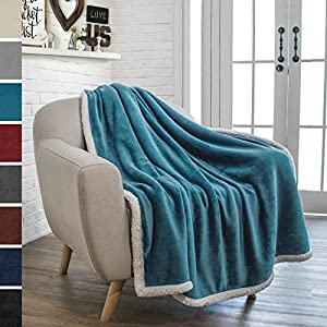 PAVILIA Premium Sherpa Throw Blanket for Couch Sofa | Super Soft, Cozy, Plush Microfiber Throw for Chair | Reversible Warm Flannel Fleece Solid Blanket(50 x 60 Inches) by PAVILIA