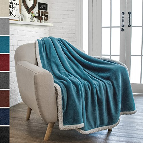 PAVILIA Premium Sherpa Throw Blanket for Couch Sofa | Soft, Cozy, Plush Microfiber Throw | Reversible Flannel Fleece Solid Blanket, All Season Use (Sea Blue, 50 x 60 (Fleece Winter Throw Blanket)