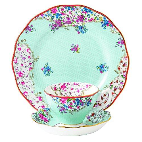 """Royal Albert Candy 3 Piece Teacup Saucer and Plate Set, 8"""","""