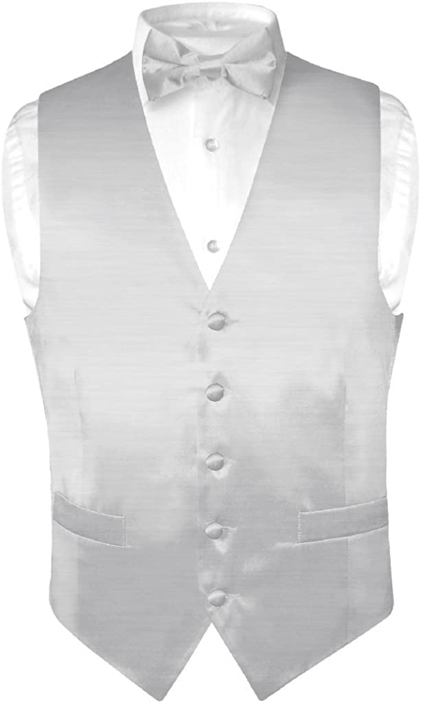 Biagio Men's Solid Silver Gray Bamboo Silk Dress Vest Bow Tie Set for Suit/Tux