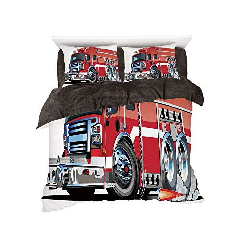 The Bed Duvet Cover Set 3D Printed for Bed Width 4ft Pattern by,Cars,Big Fire Truck with Emergency Equipments Universal Safety Rescue Team Engine Cartoon,Red Silver ()