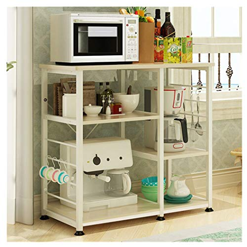 Photo ErYao 3-Tier Kitchen Bakers Rack Kitchen Island with Storage Kitchen Microwave Cart Kitchen Table Kitchen Organizer and Storage Microwave Stand Storage Rack Microwave Shelf, Shipped from US (Yellow)