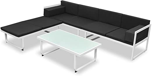 vidaXL Set Muebles Jardín 13 Pzas Aluminio Negro Blanco Sofá Mesa de Exterior: Amazon.es: Hogar
