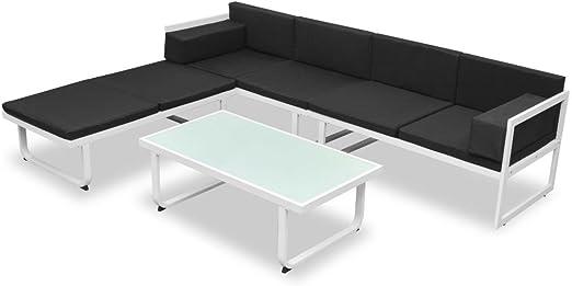 vidaXL Set Muebles Jardín 13 Pzas Aluminio Negro Blanco Sofá Mesa ...