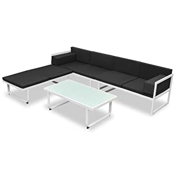 vidaXL Set Muebles Jardín 13 Pzas Aluminio Negro Blanco Sofá ...