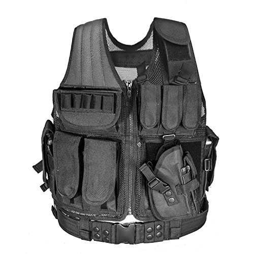 CVLIFE Adjustable Hunting Military Molle Style Tactical Vest with 9 Pouches and …