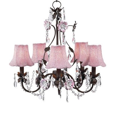 Jubilee Collection 7486-92824 5 Arm Mocha/Pink Glass Bead on Fabric Flower Garden Chandelier with Pink Shade