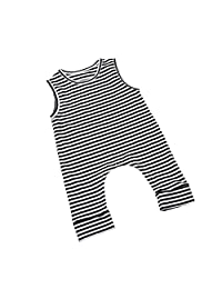 ITFABS Newborn Baby Boy Girl Cute Striped Jumpsuit Sleeveless Romper Outfit Clothes