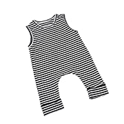 ITFABS Newborn Baby Boy Girl Cute Striped Jumpsuit Sleeveless Romper Outfit Clothes (80(6-12months), Black/White)
