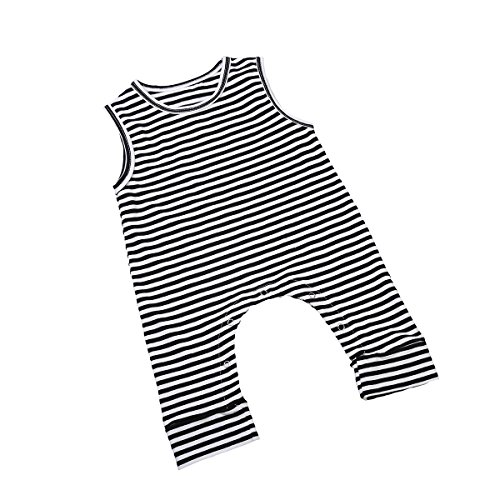 ITFABS Newborn Baby Boy Girl Cute Striped Jumpsuit Sleeveless Romper Outfit Clothes (90(12-18months), Black/White) from ITFABS