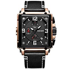Specifications: Case Diameter: 1.61in approx Case Thickness: 0.55in approx Band Length: 9.45in approx Band Width: 0.94in approx Watch Weight: 3.35oz approx Case Material: Alloy Band Material: Leather Dial Window Material Type: Hardlex Gender:...