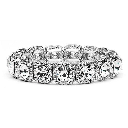 Mariell Vintage Silver Crystal Stretch Bracelet  Adjustable Fit Bangle for Weddings Prom amp Fashion